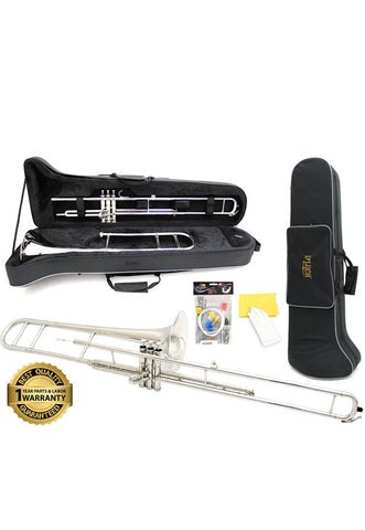D'Luca 710 Series Nickel Plated Bb Valve Trombone with Professional Case, Cleaning Kit and 1 Year Manufacturer Warranty