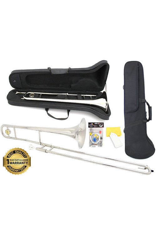 D'Luca 750 Series Nickel Plated Bb Tenor Slide Trombone, Professional Case, Cleaning Kit and 1 Year Manufacturer Warranty