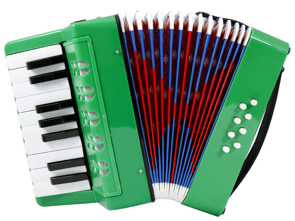 D'Luca Kids Piano Accordion 17 Keys 8 Bass Green