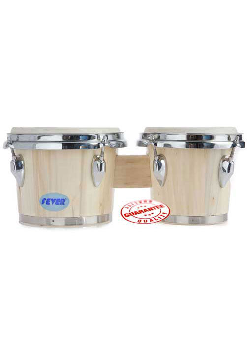 Fever Tunable Bongos 8 & 7 Inch Natural Finish