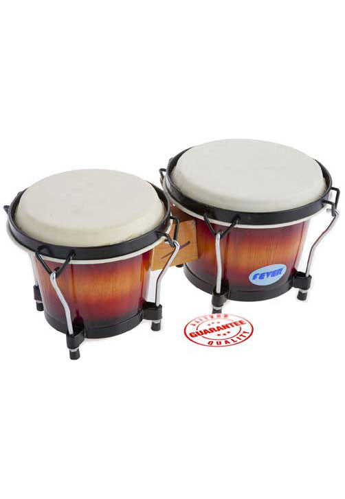 Fever Tunable Bongos 8 & 7 Inch with Black Rims Sunburst Finish