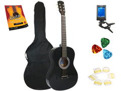 Star Acoustic Guitar 38 Inch with Bag, Tuner, Strings, Picks and Beginner's Guide, Black