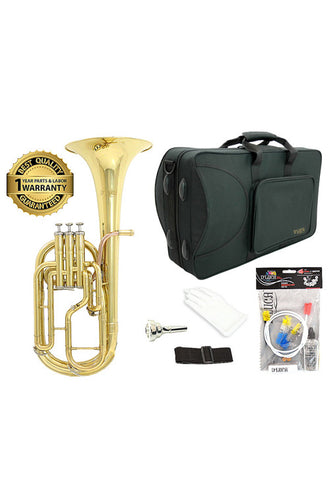 D'Luca 860 Series Gold Brass Eb Alto Horn with Rose Brass Leadpipe, Professional Case, Cleaning Kit and 1 Year Manufacturer Warranty