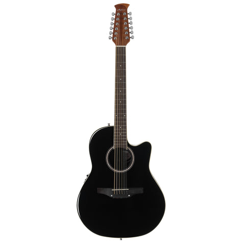Ovation Applause 12-String Acoustic Electric Guitar, Mid Depth, Black