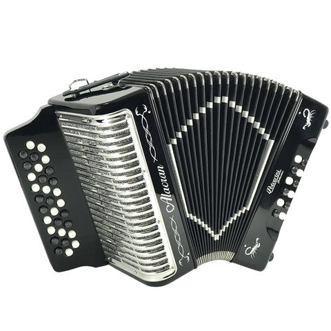 Alacran 31 Button 12 Bass Button Accordion FBE With Straps And Case, Black