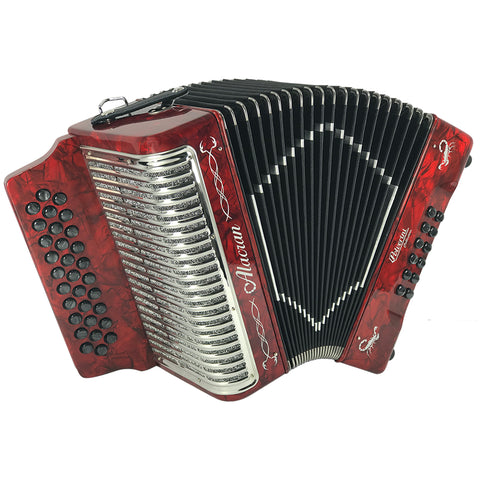 Alacran 31 Button 12 Bass Button Accordion FBE With Straps And Case, Red Pearl