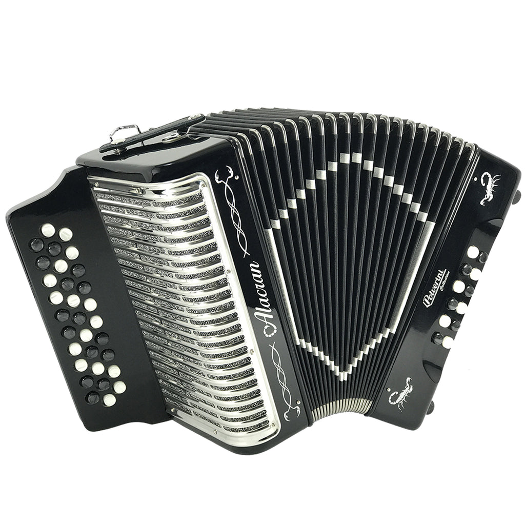 Alacran 31 Button 12 Bass Button Accordion GCF With Straps And Case, Black