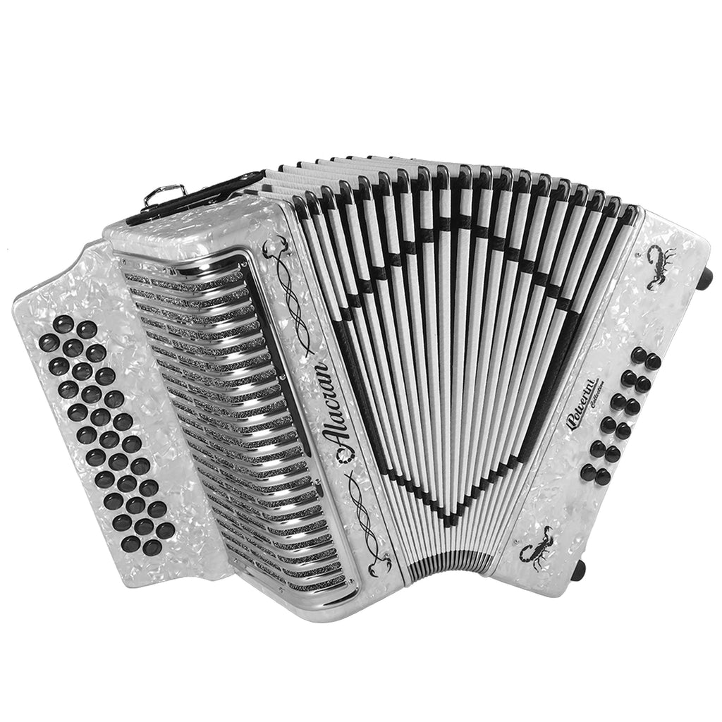 Alacran 31 Button 12 Bass Button Accordion GCF With Straps And Case, White