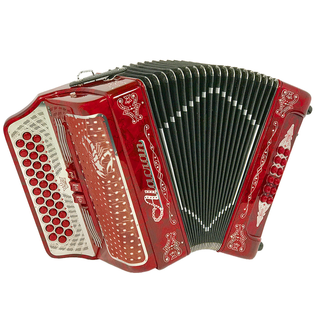 Alacran 34 Button 12 Bass 3 Switches Button Accordion EAD With Straps And Case, Red