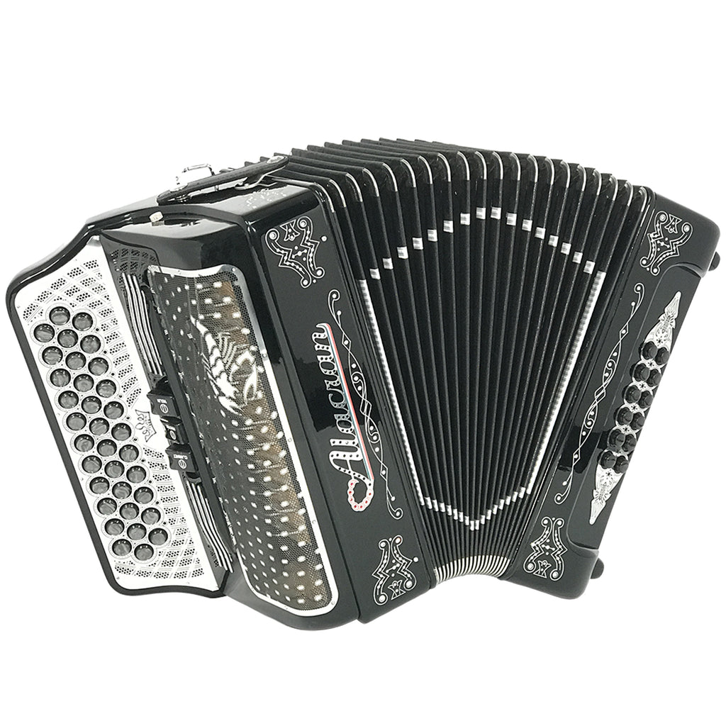 Alacran 34 Button 12 Bass 3 Switches Button Accordion GCF With Straps And Case, Black