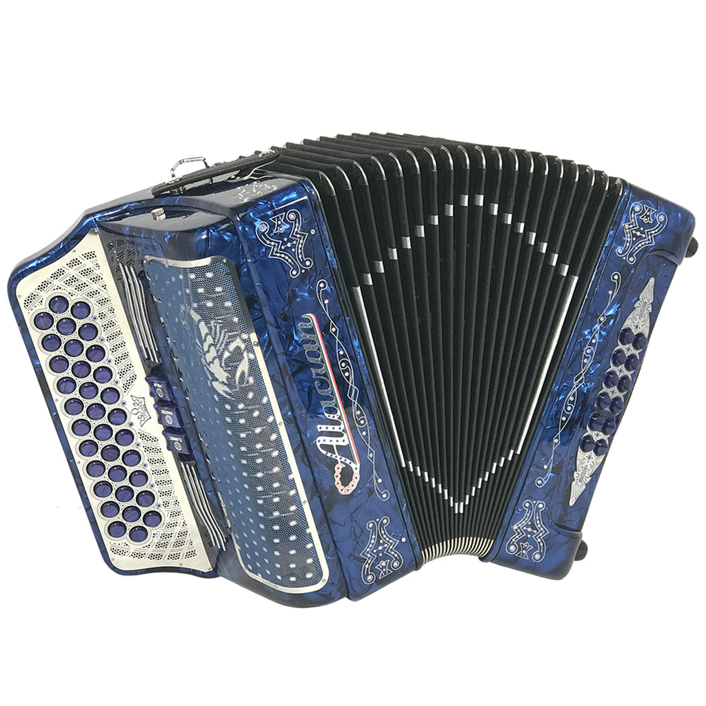 Alacran 34 Button 12 Bass 3 Switches Button Accordion GCF With Straps And Case, Blue