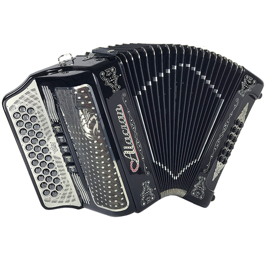 Alacran 34 Button 12 Bass 5 Switches Button Accordion EAD With Straps And Case, Black