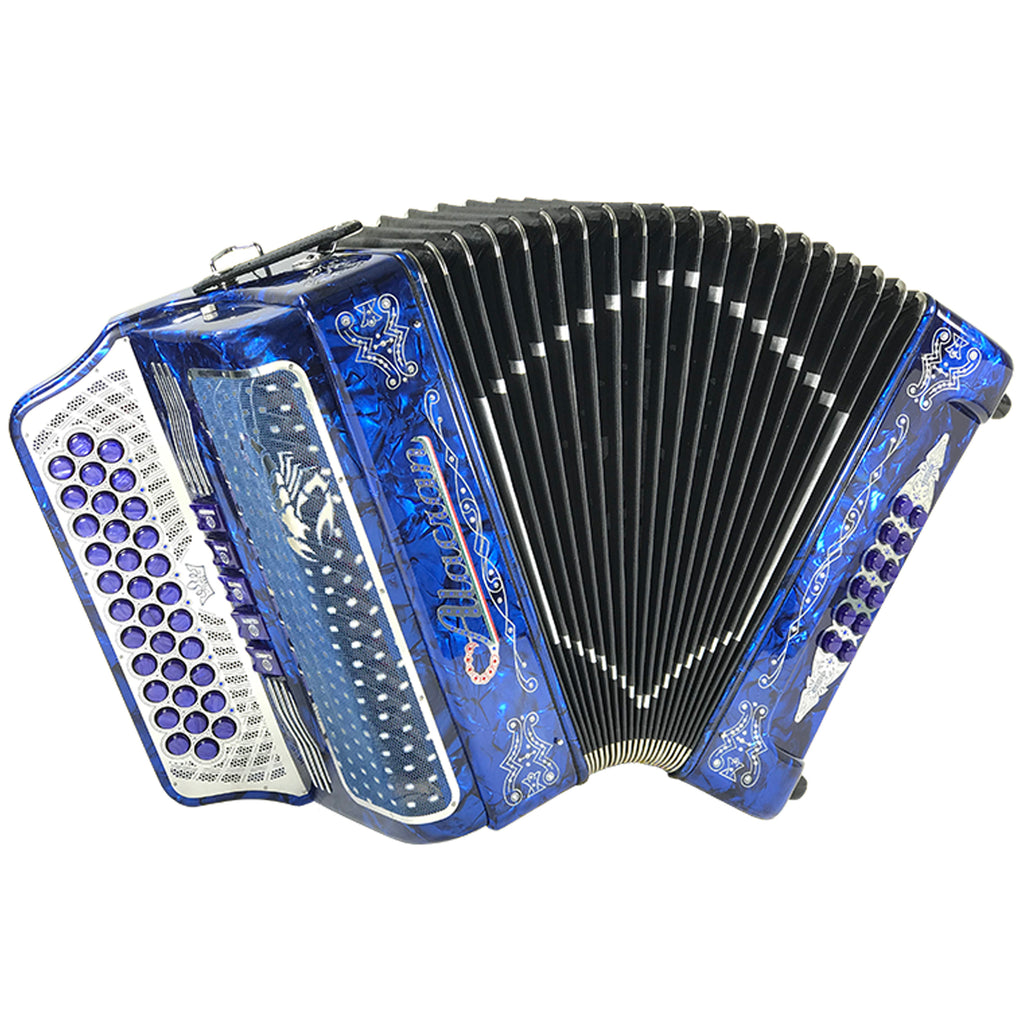 Alacran 34 Button 12 Bass 5 Switches Button Accordion GCF With Straps And Case, Blue