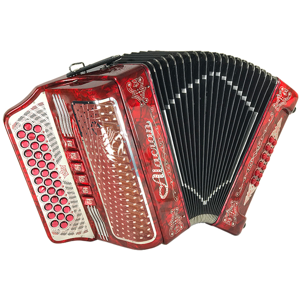 Alacran 34 Button 12 Bass Tow Tone Button Accordion EAD With Straps  And Case, Red