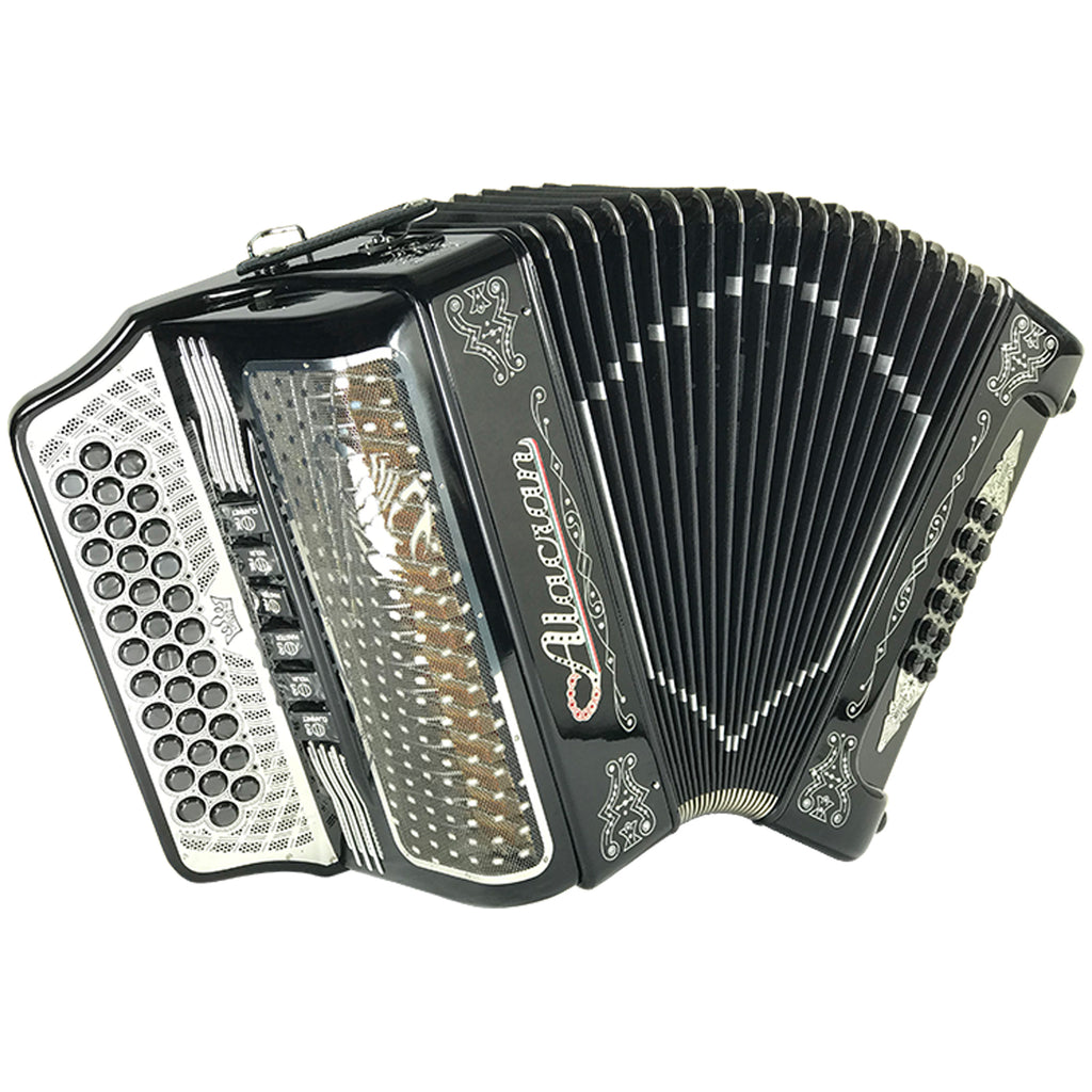 Alacran 34 Button 12 Bass Tow Tone Button Accordion FBE With Straps  And Case, Black