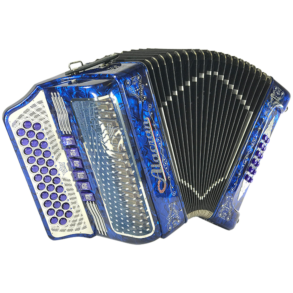 Alacran 34 Button 12 Bass Tow Tone Button Accordion FBE With Straps  And Case, Blue