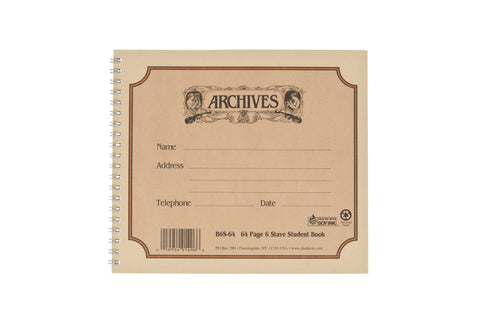 Archives Spiral Bound Manuscript Paper Book, 6 Stave, 64 Pages