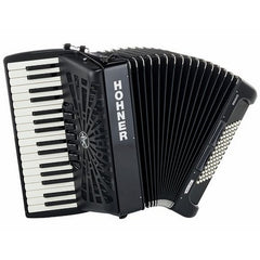 Hohner Piano Accordion Bravo III 72, Jet Black, with Gig Bag & Straps