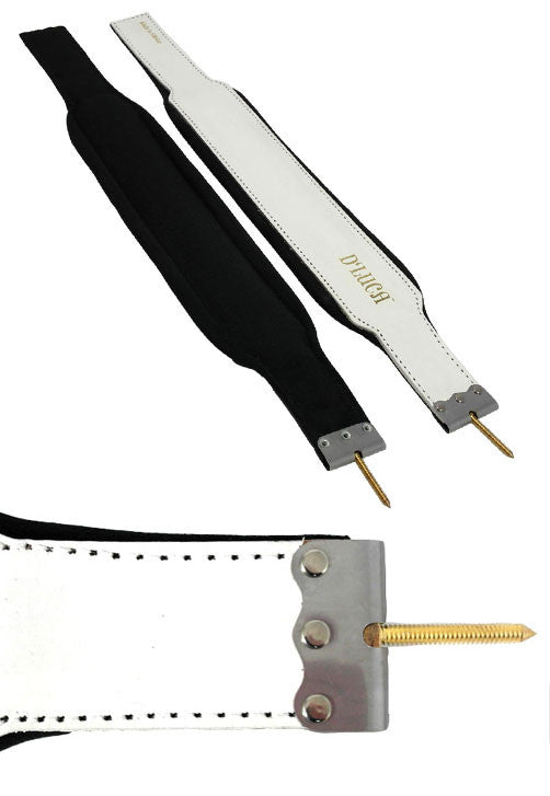 D'Luca Pro Series Genuine Leather Accordion Bass Straps 20.5 Inches White