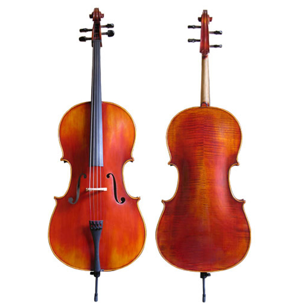 D'Luca Flamed Cello Outfit With Ebony fittings And Antique Finish, 4/4 Full Size