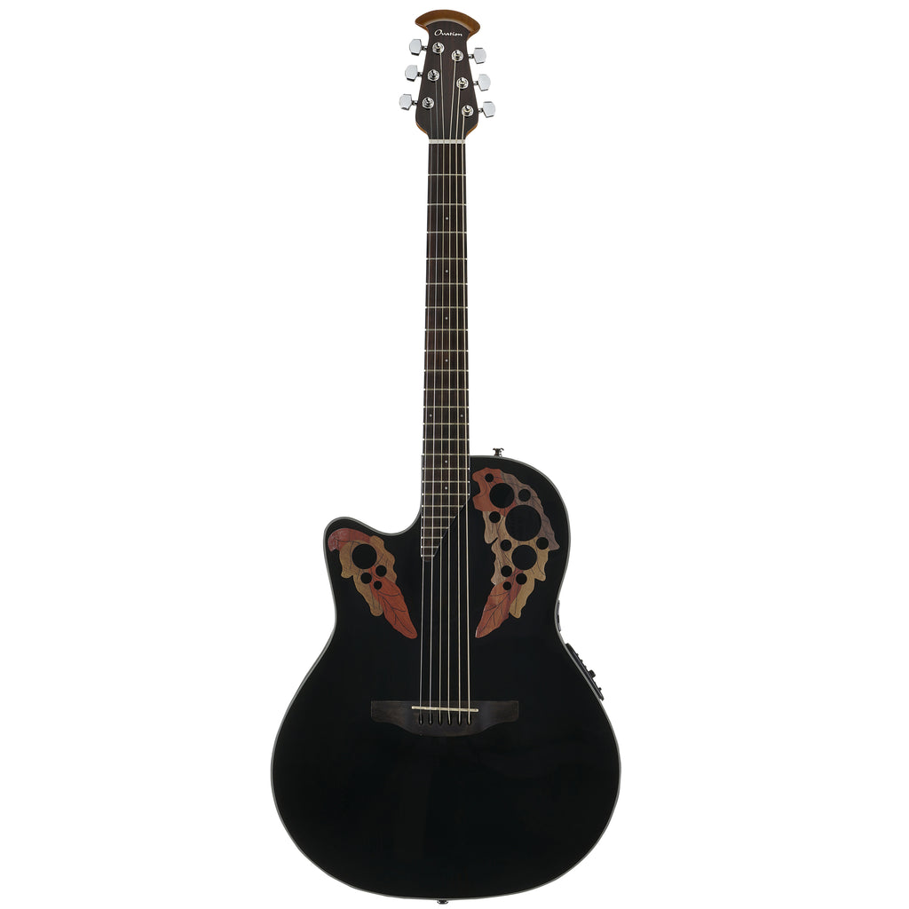Ovation Celebrity Elite Mid Depth, Lefty Acoustic Electric Guitar, Black