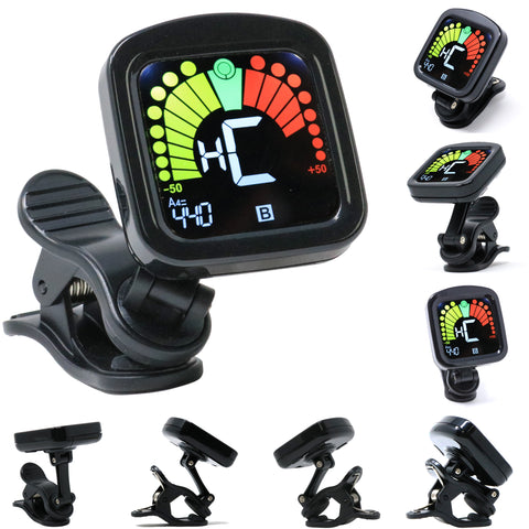 D'Luca Digital Clip-On Chromatic Tuner For Guitar, Bass, Violin, Ukulele