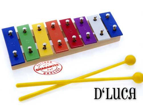D'Luca 8 Colored Notes Children Xylophone Glockenspiels with Music Cards