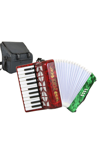 D'Luca Grand Junior Piano Accordion 22 Keys 8 Bass with Gig Bag, Red, White, Green