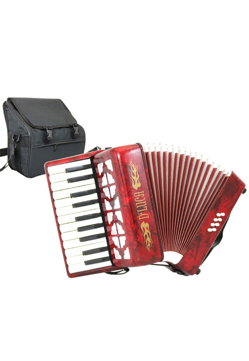 D'Luca Grand Junior Piano Accordion 22 Keys 8 Bass with Gig Bag, Red