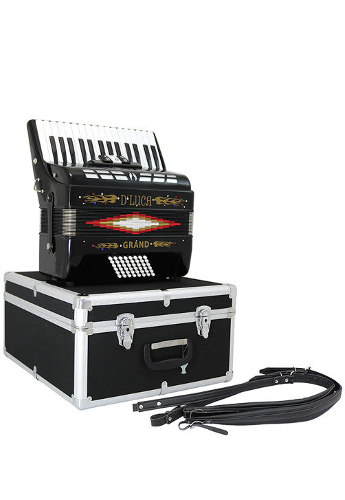 D'Luca Grand Piano Accordion 3 Switches 30 Keys 48 Bass with Case and Straps, Black