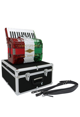D'Luca Grand Piano Accordion 3 Switches 30 Keys 48 Bass with Case and Straps, Red, White, Green