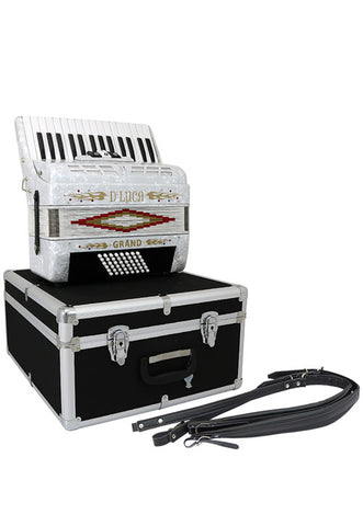 D'Luca Grand Piano Accordion 3 Switches 30 Keys 48 Bass with Case and Straps, White