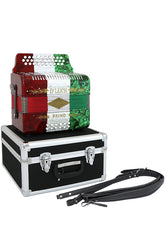 D'Luca Primo Button Accordion 31 Keys 12 Bass on GCF Key with Case and Straps, Red, White, Green