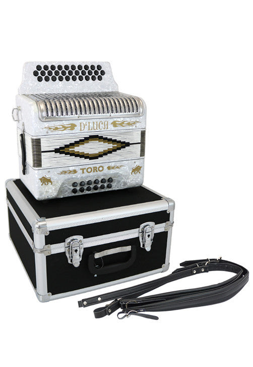 D'Luca Toro Button Accordion 31 Keys 12 Bass on GCF Key with Case and Straps, White