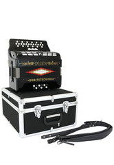 D'Luca Patron Button Accordion 3 Switches 34 Keys 12 Bass on GCF Key with Case and Straps, Black