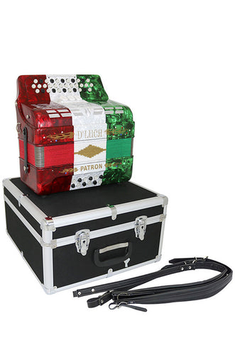 D'Luca Patron Button Accordion 3 Switches 34 Keys 12 Bass on GCF Key with Case and Straps, Red, White, Green