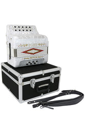 D'Luca Patron Button Accordion 3 Switches 34 Keys 12 Bass on GCF Key with Case and Straps, White