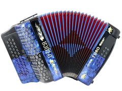 D'Luca Toro Button Accordion 34 Keys 12 Bass, GCF, Case and Straps, Blue/Black
