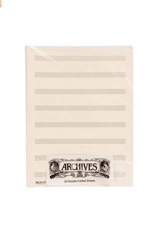 Archives Double-Folded Manuscript Paper Sheets, 8 stave, 24 Sheets
