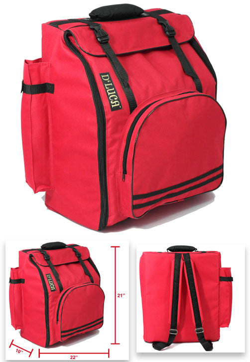 D'Luca Pro Series Accordion Gig Bag for 96/120 Bass Piano Accordions, Red