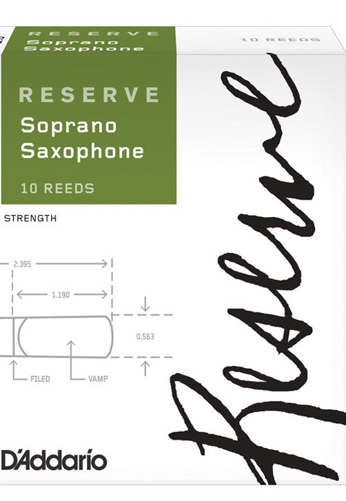 D'Addario Reserve Soprano Saxophoneophone Reeds, Strength 3.0+, 10-pack