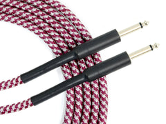 D'Luca 20 Feet Instrument Cable 1/4 Straight to 1/4 Straight Red Tweed Cloth Jacket