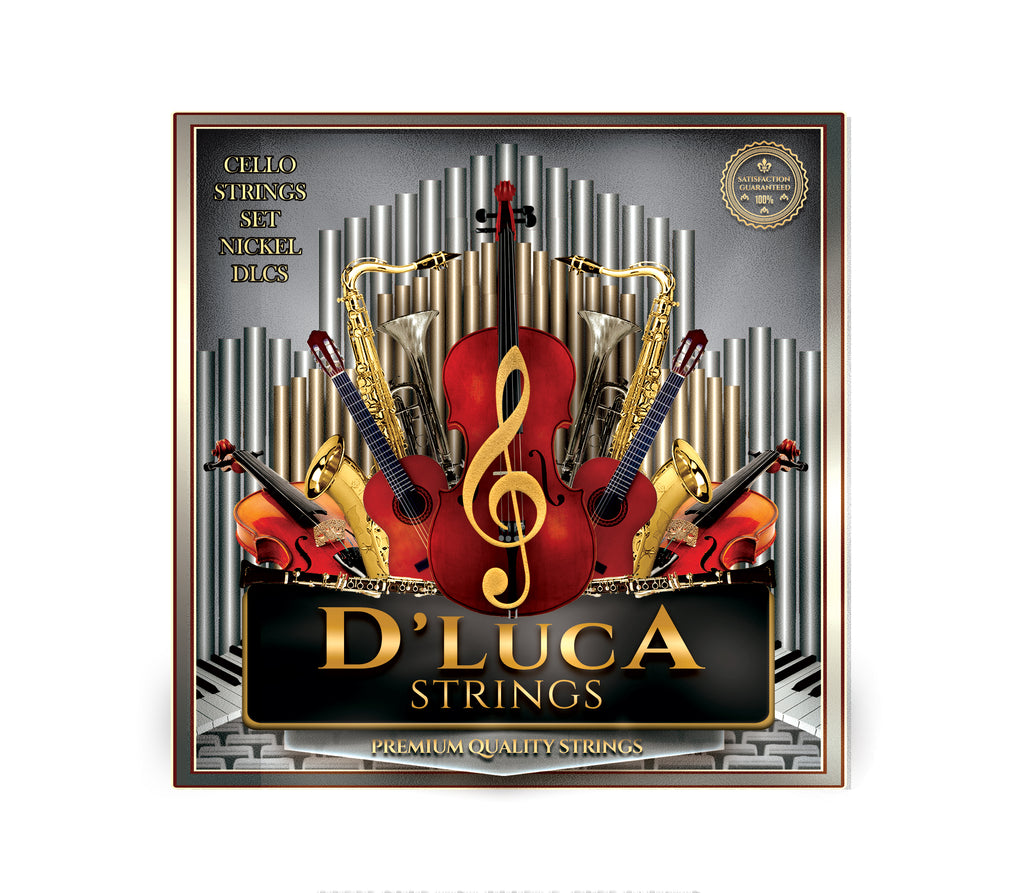 D'Luca Copper Nickel Alloy Wound Cello Ball End String Set 1/2