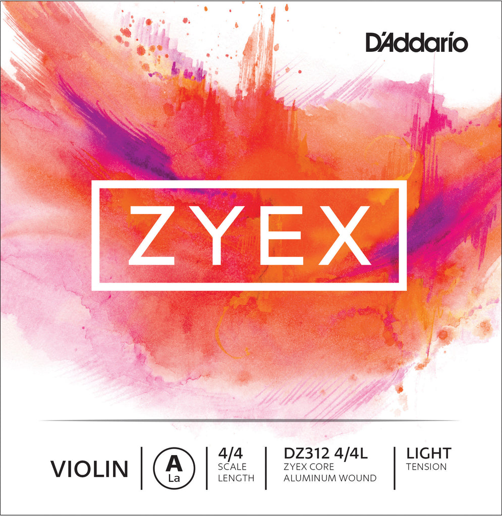 D'Addario Zyex Violin Single A String, 4/4 Scale, Light Tension