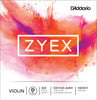 D'Addario Zyex Violin Single Aluminum D String, 4/4 Scale, Heavy Tension