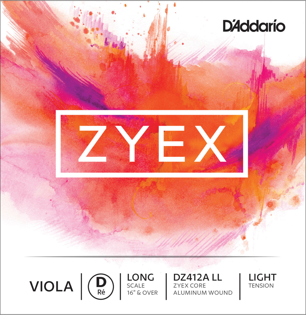 D'Addario Zyex Viola Single Aluminum Wound D String, Long Scale, Light Tension