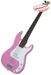 Electric Bass Guitar with Bag, Strap and Tuner, Pink