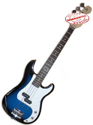 Electric Bass Guitar with Bag, Strap and Tuner, Blueburst