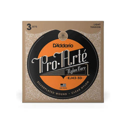 D'Addario EJ43 Pro-Arte Nylon Classical Guitar Strings, Light Tension, 3 Sets