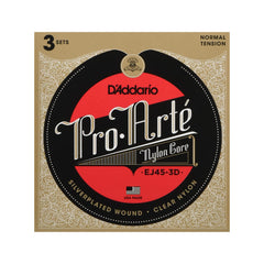 D'Addario EJ45-3D Pro-Arte Nylon Classical Guitar Strings, 3 Sets